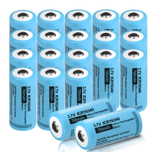 20x ICR16340 3.7V Rechargeable Li-ion Batteries 700mAh 123A For LED Torch PKCELL - $41.60