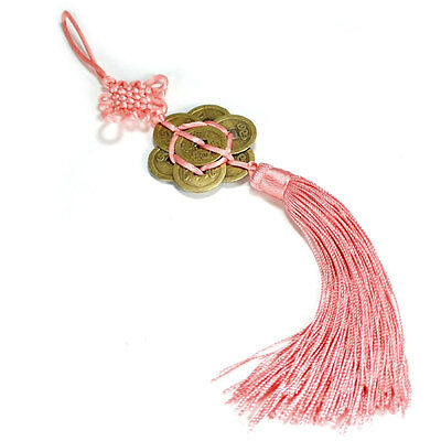 FENG SHUI 8 COIN TASSEL PINK Hanging Cure Good Fortune Love Romance Prosperity