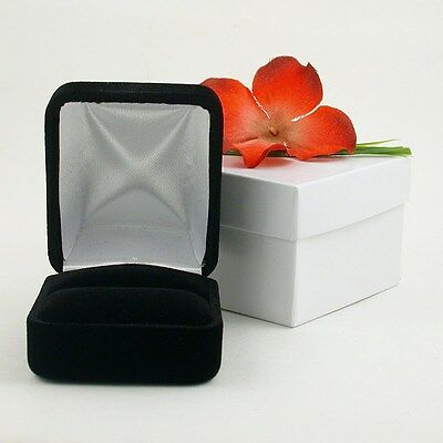 New Black Velvet Ring Jewelry Display Gift Box