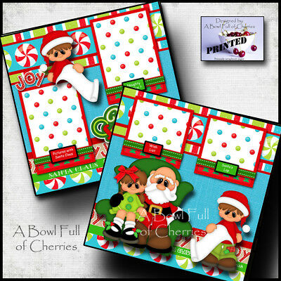 VISITING SANTA ~ CHRISTMAS 2 premade scrapbook pages paper printed layout CHERRY