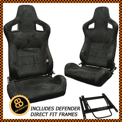 Pair BB6 Reclining Bucket Seats Alcantara Suede + Adaptor Plates DEFENDER 90 110