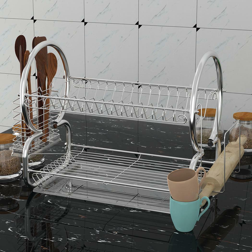 LARGE 2 TIER DISH CUP DRAINER DRYING RACK KITCHEN STORAGE ST