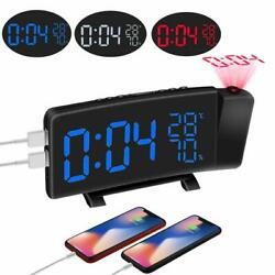 Digital Alarm Clock Projection LED Dual Alarm Radio Snooze USB Charging Port