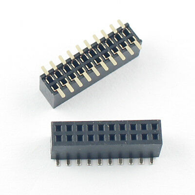 10pcs Gold Plated 1.27mm 2x10 Pin 20 Pin Smt Smd Double Row Female Header Strip