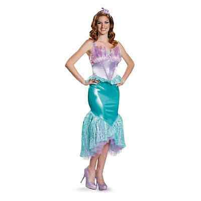 Ariel Disney Princess Little Mermaid Fancy Dress Halloween Deluxe Adult Costume