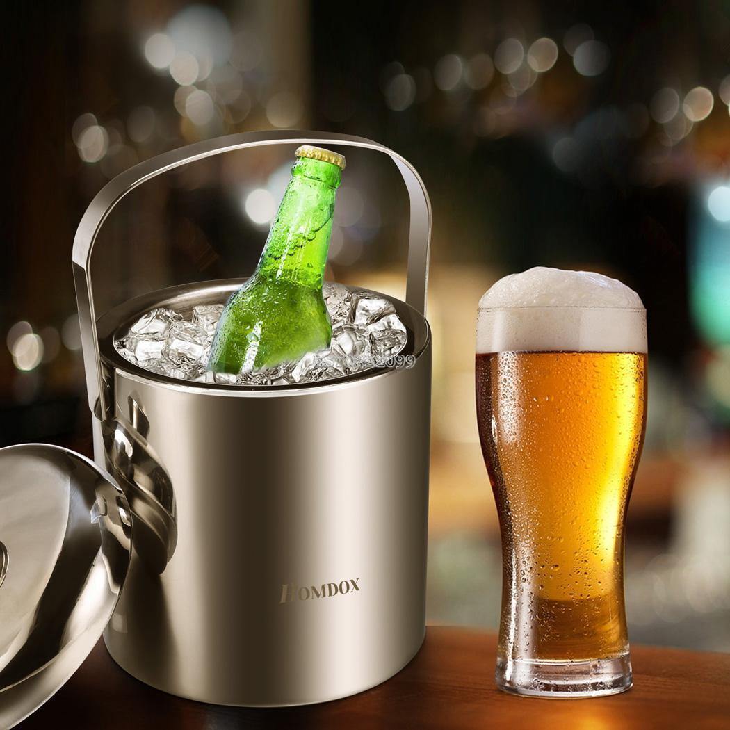 1.2l Stainless Steel Ice Bucket Holder Party Drinks Beer Ice Cooler & Tongs Lid