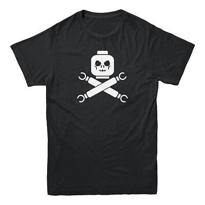 Mens Jolly Roger - Lego Skull & Crossbones Jolly Roger Pirate Retro Gamer Nerd Toy Men's T-shirt
