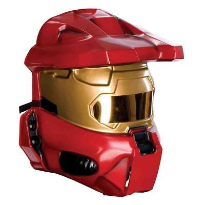 Red Spartan Halo (Red Spartan Mark VI Halo Face Mask Fancy Dress Soldier Costume)