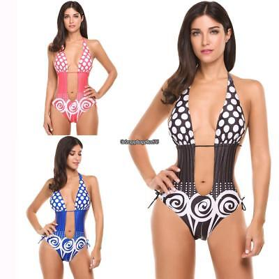 Women Halter Padded Cut Out Monokini One Piece Swimsuit Swimwear (Cut Out Monokini Swimsuit)