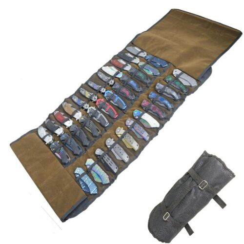 DEFENDER Canvas Roll Up 36 Pocket Folding Knife Storage Satchel Carry Case