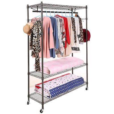 3-tier Rolling Garment Cloth Storage Rack Clothing Coat Shelf Organizer Eh7e