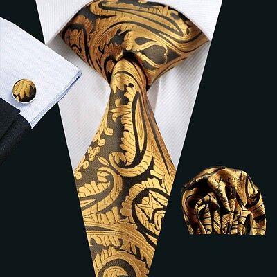 C-988  Classic Gold Brown Striped 100% Jacquard Woven Silk Men's Tie set Necktie