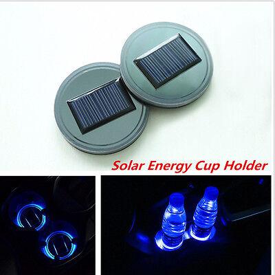 2 Pcs Car Truck Interior Solar Energy Cup Bottle Bottom Holder Pad w/ Blue Light