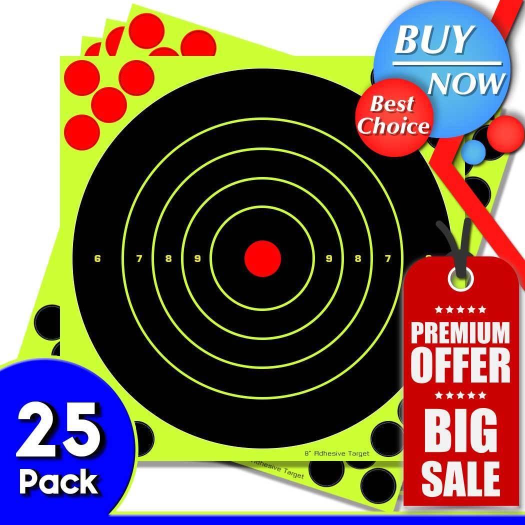 "25PK Shooting Targets Reactive Splatter 8"" Paper Adhesive Gu"