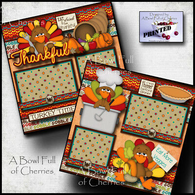 THANKSGIVING ~ 2 premade scrapbook pages paper printed layout family ~BY - Scrapbook Pages
