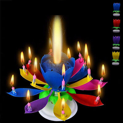 En venta Music Rotate Candle 2 Layers Lotus Blossom Flower Light Birthday Weddings Party