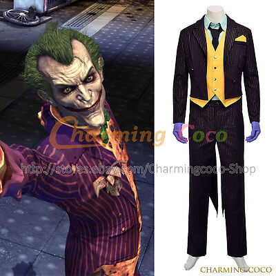 Batman: Arkham City Cosplay The Joker Costume Suit Uniform Halloween Party Cool](The Joker Costume Party City)