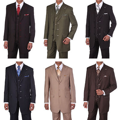Men's 3 pcs Wool Feel Classic Gangster Pinstripe Suits with Vest 5903  - Gangster Vest