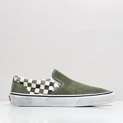 Vans Men's New Classic Slip-On Canvas Suede Shoes Grape Leaf Green Washed Finish