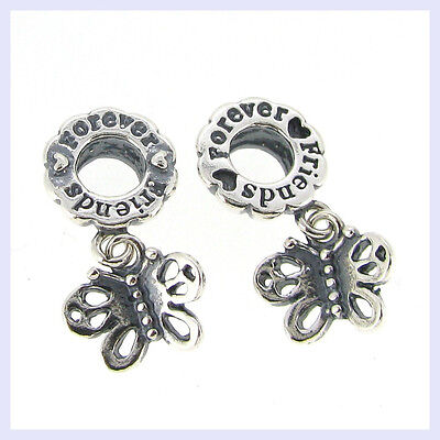 Sterling Sliver Best Friend Forever Butterfly Bead for European Charm