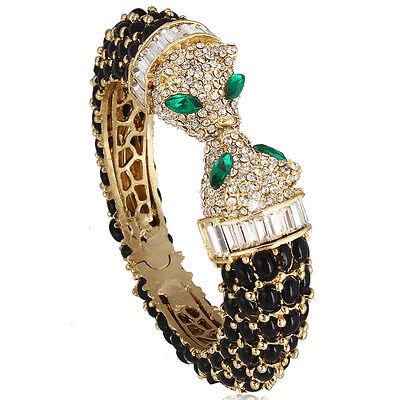 Panther Leopard Head Animal Bangle Bracelet Black Rhinestone Crystal Gold Tone