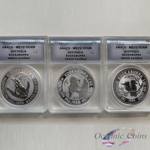 Lot of 3 1992,1993,1994 Perth Mint Australia Silver Kookaburra ANACS MS 70 DCAM