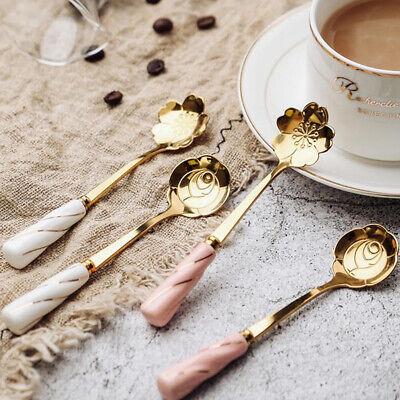 Ceramica Manico Cucchiaio Acciaio Inox Dessert Caffè Cucchiai Gelato Cucchiaino