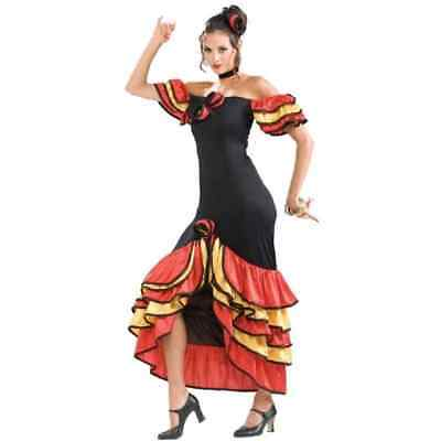 Spanish Lady Dancer Salsa Flamenco Senorita Fancy Dress Halloween Adult Costume