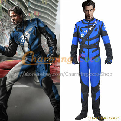 Iron Man 2 Tony Stark Cosplay Costume Motorcycle Uniform Halloween Outfits Cool](Tony Stark Halloween Costume)