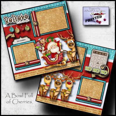 CHRISTMAS SANTA REINDEER premade scrapbook pages paper printed layout BY CHERRY