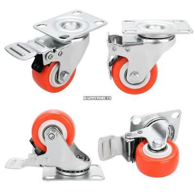 Set Of 4 Swivel Plate Casters With 2 Polyurethane Wheels 2 Side Brakes