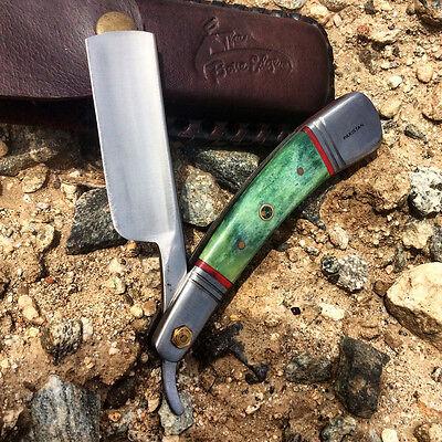 "NEW Hand Made 9.5"" Surgical Sharp STRAIGHT RAZOR Blade Green Buffalo Horn Handle"
