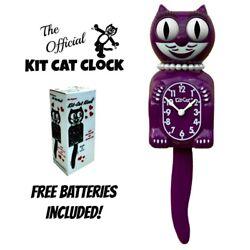 BOYSENBERRY LADY KIT CAT CLOCK 15.5 Purple Free Battery USA MADE Kit-Cat Klock