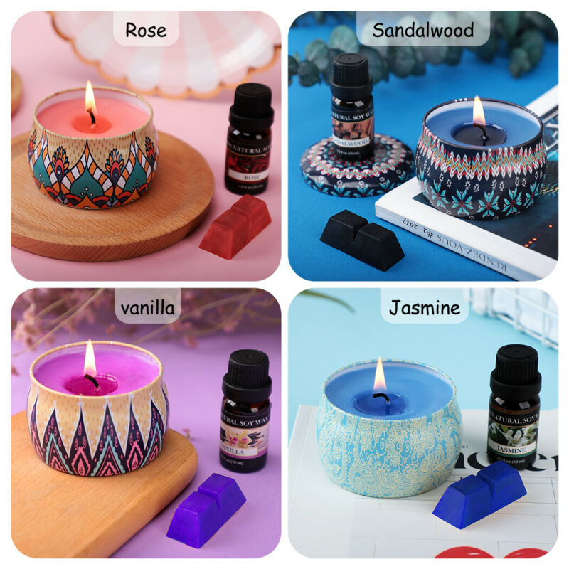 DIY Candle Making Kit Soy Wax Wicks Pitcher Fragrance Oil 4 Color Dyes Beginners