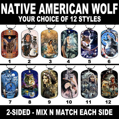 DOG TAG NECKLACE - Native Tribal American Wolf #1 Wolves Spiritual Howling Moon