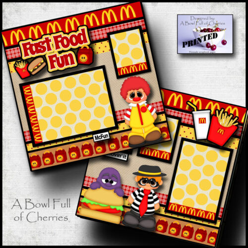MCFUN ~ kids meal ~ fast food 2 premade scrapbooking printed pages paper CHERRY