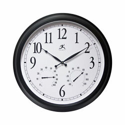 Infinity Instruments 24 Inch Classic Black Wall Thermometer Clock (For Parts)
