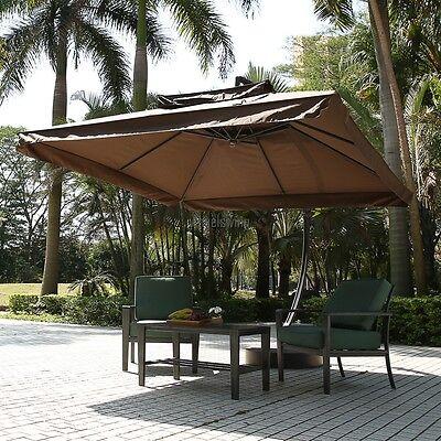 ALU Sonnenschirm Ampelschirm 3x3m Kurbelschirm Marktschirm Gartenschirm Schirm