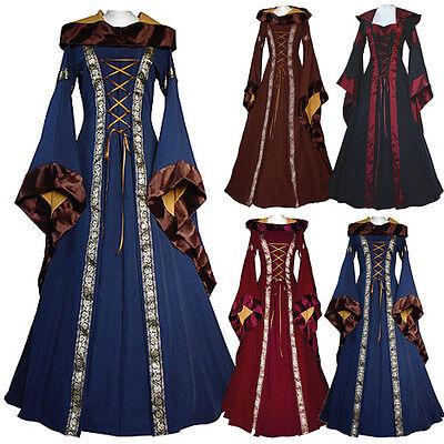 Women's Vintage Hooded Victorian Renaissance Gothic Dress Medieval Dress Costume