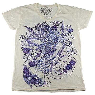 WORK Irezumi Tattoo Japanese Art Carpa Koi Fish Yakuza #WK107 Men White T-Shirt
