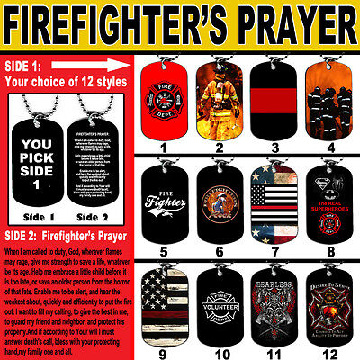 DOG TAG NECKLACE FIREFIGHTER Prayer #2 Fire Man Dept Hero Responder God Jesus