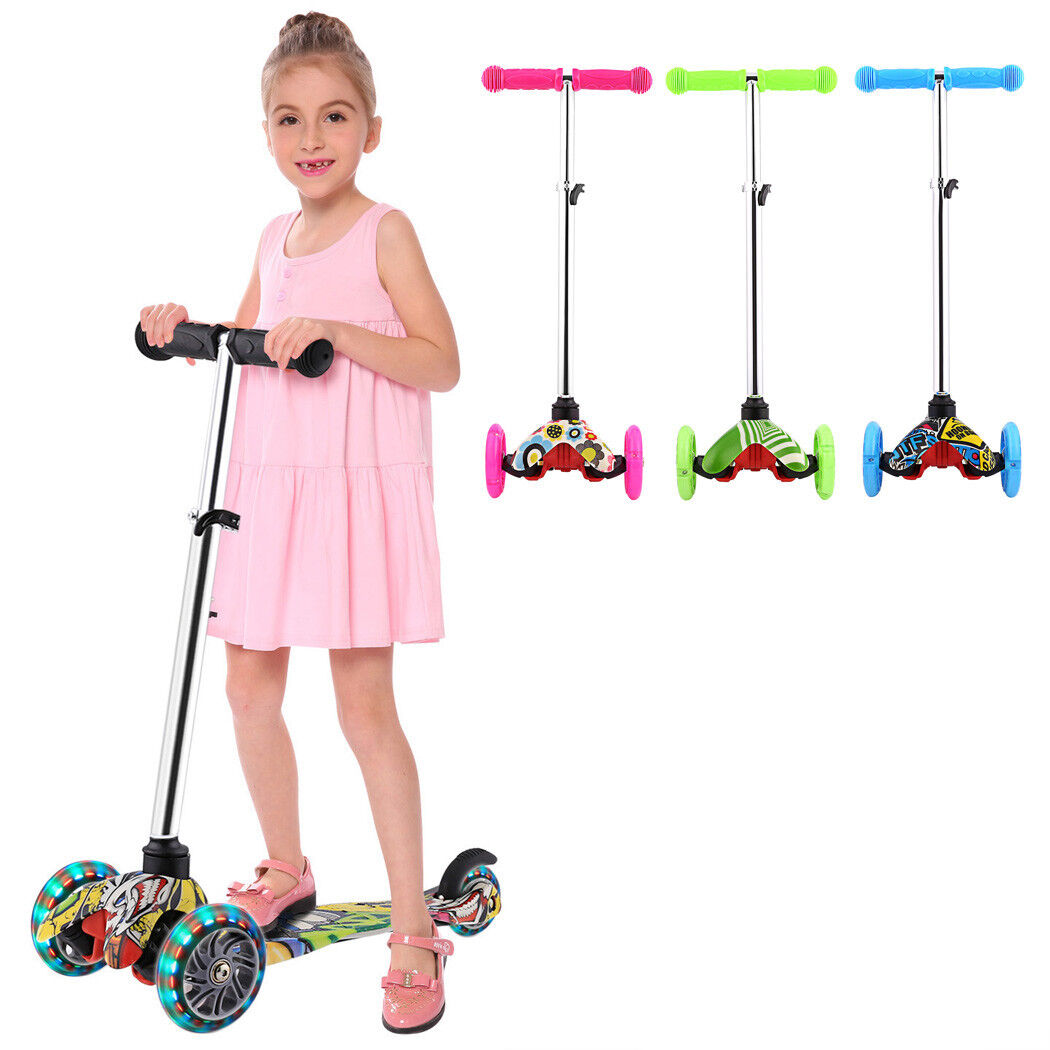 Kid Scooter Deluxe Adjustable Kick Scooters Girls Boys 3 LED Wheel Gift