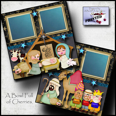 ADORE HIM nativity 2 premade scrapbook pages paper PRINTED CHRISTMAS ~BY CHERRY