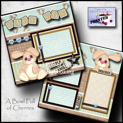BABY BOY 2 premade scrapbook pages paper piecing layout 12X12 album CHERRY #0084