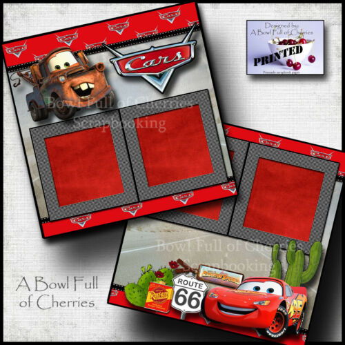DISNEY CARS ~ 2 premade scrapbook pages paper printed layout BFOC CHERRY #0195