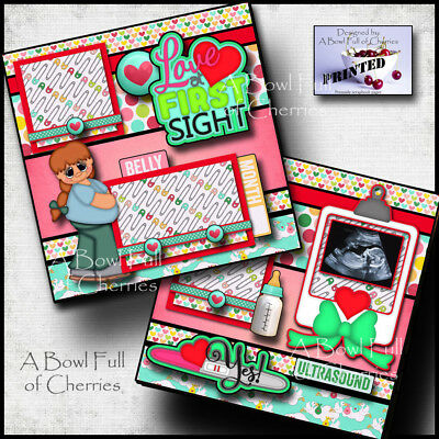 BABY ULTRASOUND 2 premade scrapbook pages paper printed layout 4 album ~ CHERRY