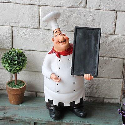 KiaoTime Restaurant Chef Figurine Decorative Home Kitchen Statue with Blackboard
