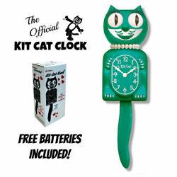 GREEN BEAUTY LADY KIT CAT CLOCK 15.5 Free Battery MADE IN THE USA Kit-Cat Klock
