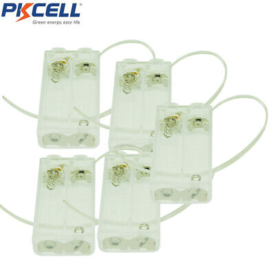 10pcs 2-aa Cell Transparent Battery Holder Case Box With 6 Cable Leads Switch