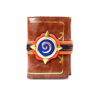 Hearthstone Video Game 3D Logo Tri-Fold Men's Brown Leather Wallet Collectable
